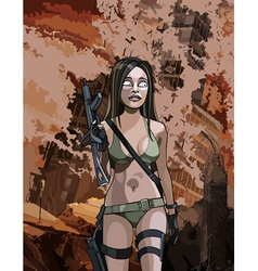 Cartoon armed sexy woman in ruins vector