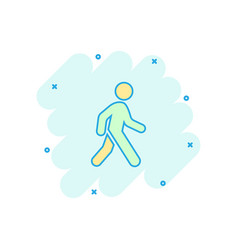 cartoon walking man icon in comic style people vector image