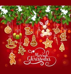 Christmas garland with cookie greeting card design vector