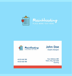 clipboard logo design with business card template vector image