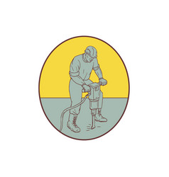 Construction worker operating jackhammer oval vector