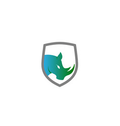 creative blue rhinoceros logo design symbol vector image