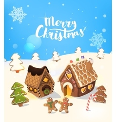 Cristmas Background with gingerbread house vector image