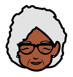 Cute grandmother black head character vector