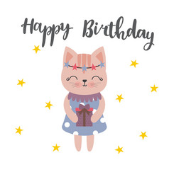 cute postcard happy birthday with lovely kitty vector image