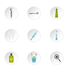 Dental clinic icons set flat style vector
