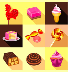 different sweet candy icons set flat style vector image