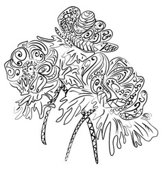 doodle art flowers zentangle anemones pattern vector image