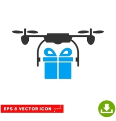 Drone Gift Delivery Eps Icon vector image