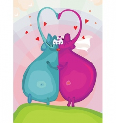 elephants in love vector image