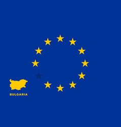 Eu flag with bulgaria country european union vector
