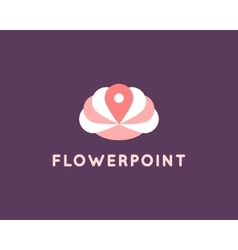Flower and Pin Logo vector image