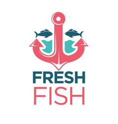 fresh fish emblem with red anchor isolated vector image