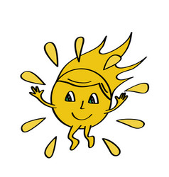 funny sun icon isolated on white vector image