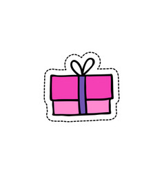 Gift box doodle icon vector