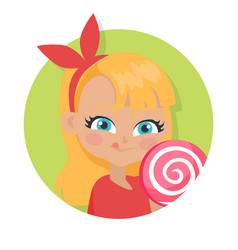 Girl with fair long hair and red bow big lollipop vector