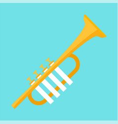 gold trumpet icon flat style vector image