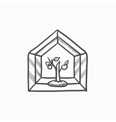 Greenhouse sketch icon vector image
