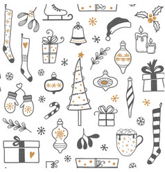 hand drawn christmas seamless background vector image