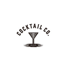 hand drawn of glass cocktail logo designs vector image