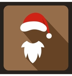 Hat with pompom and white beard of Santa Claus vector image