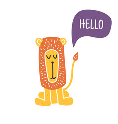 hello lion vector image