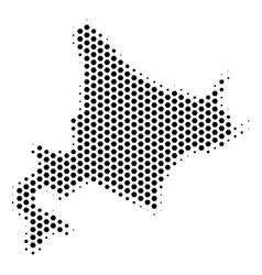 Hexagonal hokkaido island map vector