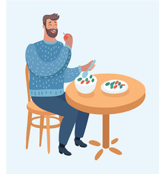 hipster man eating healthy vegetable salad vector image