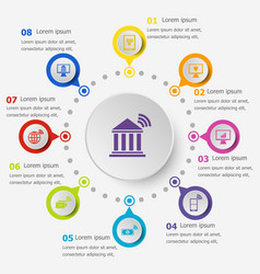 Infographic template with online banking icons vector