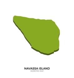 Isometric map of Navassa Island detailed vector image