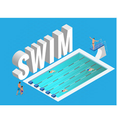 isometric public sports swimming pool open vector image