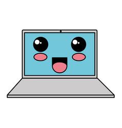 laptop computer kawaii character vector image