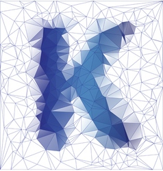 Letter K low poly vector