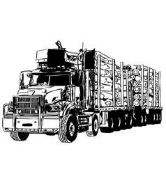 Log carrier truck vector