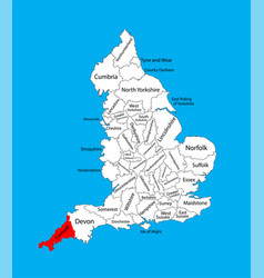 Map cornwall south west england united kingdom vector