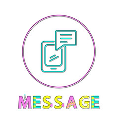 message round linear icon with modern samrtphone vector image