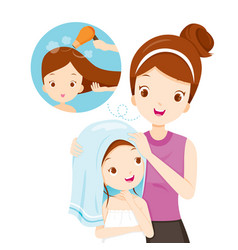 Mother rub daughter hair with towel vector