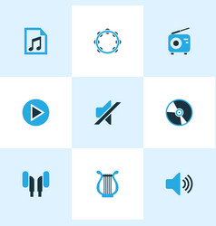 multimedia colored icons set collection of play vector image