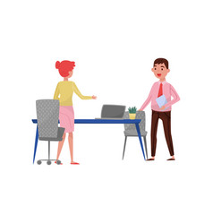 new male employee applicant and hr manager meeting vector image