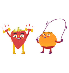 Orange strawberry characters doing sport exercises vector