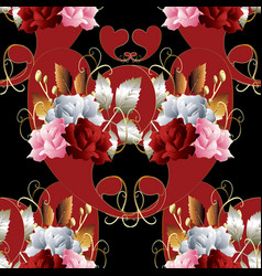 paisleys seamless pattern floral roses background vector image