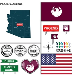 Phoenix Arizona set vector image