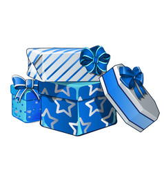 pile gift boxes wrapped in bright wrapping vector image