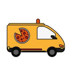 pizza car flat vector image