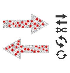 Polygonal network horizontal flip arrows icon with vector