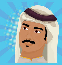 Portrait of arab man in traditional clothes vector