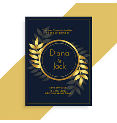 Premium golden leaves wedding card design vector