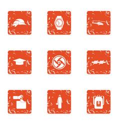 Regulation icons set grunge style vector