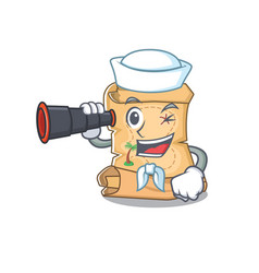 Sailor with binocular treasure map cartoon in vector