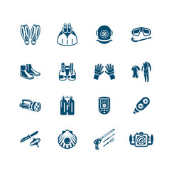 scuba diving icons - micro series vector image